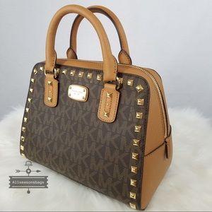 Michael Kors Mk Sandrine Studded Satchel Brown Bag